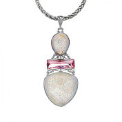 Crystaluxe Sajen Snow Druzy Quartz Pendant Necklace with Crystals in Sterling Silver