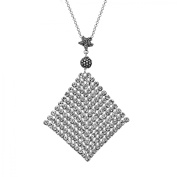 Aya Azrielant Mesh Pendant Necklace with Crystals in Sterling Silver