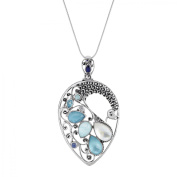 Sajen Natural Multi-Stone Doublet Peacock Pendant Necklace in Sterling Silver