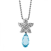 Starfish Pendant Necklace with Azure & White Crystals in Sterling Silver