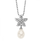 Aya Azrielant Starfish Pendant Necklace with Freshwater Pearl and White Crystals in Sterling Silver