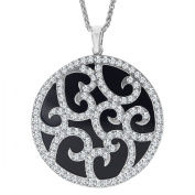 Van Kempen Art Deco Medallion Pendant Necklace with Crystals in Sterling Silver
