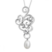 Evert deGraeve Freshwater Pearl Filigree Pendant Necklace in Sterling Silver, Large