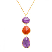 Piara 59 ct Natural Amethyst & Carnelian Triple Drop Pendant Necklace in 18kt Gold-Plated Sterling Silver