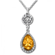 Evert deGraeve 2 3/4 ct Citrine & White Sapphire Pendant Necklace in Sterling Silver