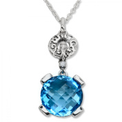 Evert deGraeve 8 1/3 ct Natural Swiss Blue Topaz Pendant Necklace in Sterling Silver