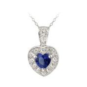 ICZ Stonez Sterling Silver Blue CZ Heart Pendant