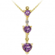 Glitzy Rocks Gold Plated Diamond Amethyst Heart Pendant