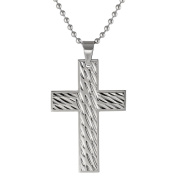 BIG Jewellery Co Stainless Steel Textured Cross Pendant Necklace