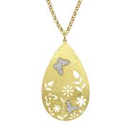 Jayden Star Isla Simone - Gold Tone Flower & Crystalize Butterfly Necklace