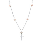 Sterling Essentials Sterling Silver Cross and Pearl Chain Necklace