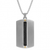 BIG Jewellery Co Men's Tri-Colour Stainless Steel Cable Inlay Tag Pendant Necklace