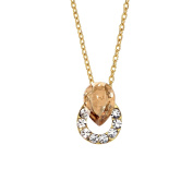 Isla Simone Gold Plated Golden Ringed Teardrop Pendant Necklace, Made with Elements