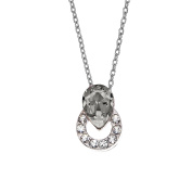 Isla Simone Rhodium Plated Silver Shadow Ringed Teardrop Pendant Necklace