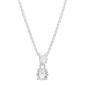 Piatella Ladies White Gold Tone Brass Double Drop Pendant With Crystal Elements