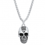 Steeltime Men's Stainless Steel Skull Pendant with Black Cubic Zirconia