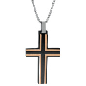 BIG Jewellery Co Two-Tone Men's Stainless Steel Cross Pendant Necklace