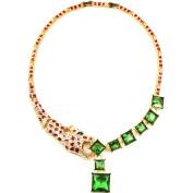 Eye Candy LA 30cm Cheetah Emerald Green Toned Neckace