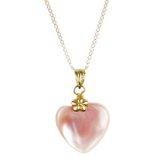 Pearl Lustre 14k Yellow Gold Necklace With Mother of Pearl Heart Pendant