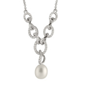 Gilo Creations Sterling Silver Cubic Zirconia and Pearl Dangling Pendant