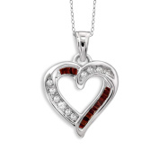 JewelonFire Sterling Silver 1/4ct TDW Red and White Diamond Heart Pendant