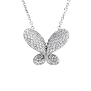 Antwerp Diamonds Antwerp's Butterfly Pave sterling silver pendant necklace