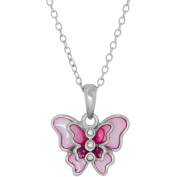 Simply Silver Kids' Sterling Silver Pink Enamel with Crystal Butterfly Pendant, 36cm