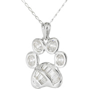 Simply Silver CZ Sterling Silver Paw Print Pendant