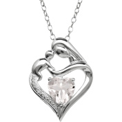 Mother and Child White Topaz and Diamond Accent Pendant in Sterling Silver, 46cm