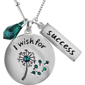 """Truly Inspired Crystal Fine Silver-Tone """"I Wish For Success"""" Pendant, 46cm + 5.1cm Extender"""