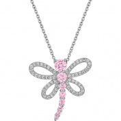 Gemspirations Sterling Silver-Plated Simulated Pink Sapphire with CZ Accents Dragonfly Pendant, 46cm