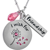 """Truly Inspired Crystal Fine Silver-Tone """"I Wish For Friendship"""" Pendant, 46cm + 5.1cm Extender"""