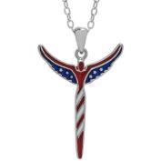 Lavaggi Jewellery Sterling Silver Petite American Angel Pendant Necklace, 46cm Chain
