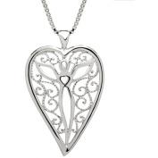 Lavaggi Jewellery Sterling Silver Spiritual Heart Pendant Necklace, 46cm Chain