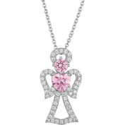 Gemspirations Sterling Silver-Plated Simulated Pink Sapphire with CZ Accents Angel Pendant, 46cm