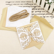 10x Love Birds Wedding Invitation Cards Kraft Paper Envelops