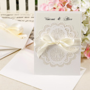 10x Wedding Invitations Vintage Lace Beautiful Gatefold Style Ribbon