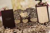 """1 X Creative """"LOVE TREE"""" Laser Cut Wedding Invitation Cards in Chocolate Colour, FREE matching envelop, FREE matching insert card and FREE seal"""