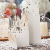 """1 X """"Wedding Fantasia"""" 3D Laser Cut Wedding in Castle Invitation Cards in Champagne Colour, FREE matching envelop, FREE matching blank insert card and FREE seal"""