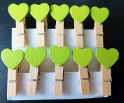 20Pcs Mini Wooden Pegs Green Hearts, Photo Clips, Wedding Decor, Craft 35mm