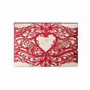 Laser Cut Wedding Invitations Cardstock Sets Engagement Hollow Heart Design Birthday Cards Flowers Marriage Party Invitation with Sincek Envelope and Adhesive Seals Bridal Shower Baby Shower Graduation Invites Card Red