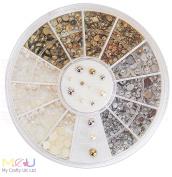 Gold, Silver & Clear Nail Art Pearl Wheel