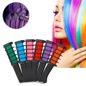 HUUATION 6 Pieces Disposable Instant Shimmer Temporary Hair Chalk Comb Hair Colour Cream Dye Salon Kits Dyeing Party Fans Cosplay