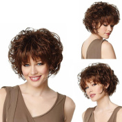 Short Curly Fluffy Full Side Bang Synthetic Wigs Brown Heat Resistant Wig
