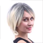 Short hair ladies diagonal bangs black gradient beige wig hood