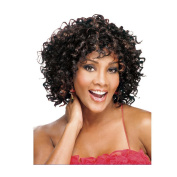 Women Synthetic Wig Capless Short Wavy Brown Highlighted Hair Natural Wigs Costume Wig