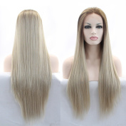 Fantasy Beauty Ombre High Temperature Fibre Glueless Brown Roots To Light Blond Straight Heat Resistant Synthetic Front Lace Wig