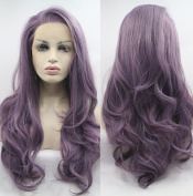 Fantasy Beauty Long Wavy Synthetic Lace Front Wig Glueless Purple High Temperature Heat Resistant Fibre Hair Wigs For Women