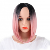 AISI HAIR Short Bob Wig Ombre Wig Black to Pink for Women Synthetic Straight Wig no Bangs Shoulder Length Wigs Natural As Real