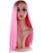 Golden Rule Lady/Women's Wigs Fashion Ombre Heat Resistant Synthetic Dark Pink Straight Wig 60cm